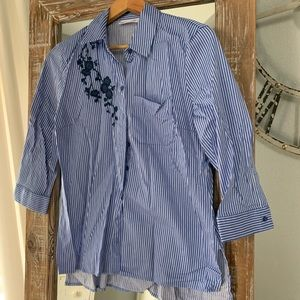 NY&Co Blue and White Stripe Shirt w/ Floral Detail